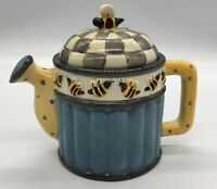 "Colorful Debbie Mumm Teapot Hand Painted 5.5"" Sakura of China Bee-Themed Design"