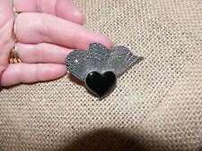 VTG 925 sterling ART DECO BLACK ONYX MARCASITE HEART BROOCH/PENDANT