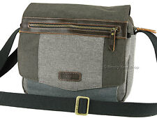 Troop London Cross Body Messenger Shoulder Bag With Leather Trims - TRP0387 Grey