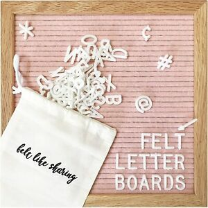 Pink Felt Letter Board 10x10 Inches, includes 300 White piece letters