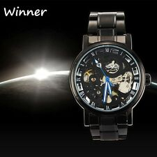 Black Men Skeleton Stainless Steel Steampunk Automatic Mechanical Wristwatch pb