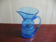 Vintage Large Hand Blown Blue Bubble Crackle Glass Pitcher