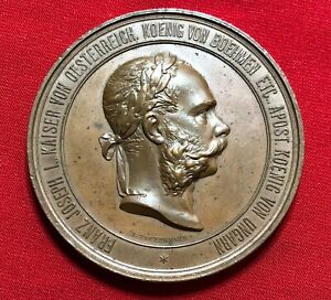 Austria 1873 World Exhibition in Vienna FRANZ JOSEPH medal by Tautenhayn 71 mm