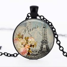 Shabby-chic Paris Black Glass Cabochon Necklace chain Pendant Wholesale