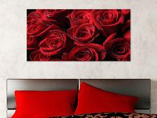 Quadro moderno Stampa su Tela Cotone cm.120x60 Rose Rosse Fiori Arredo Casa
