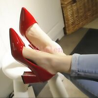 Women Patent Leather Pumps Pointy Toe Block Heel Wedding Pumps Shoes Slip On New