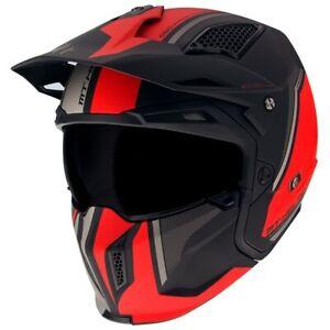 MT Streetfighter Twin Modular Motorcycle Helmet Matt Red Crash Lid With Mask