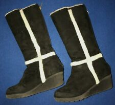 toddler girls Tall Winter Boots Black faux fur trim size 13 wedge heel So Cute @