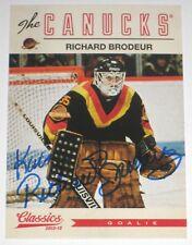 RICHARD BRODEUR SIGNED 12-13 PANINI CLASSICS SIGNATURES CANUCKS CARD AUTOGRAPH!!