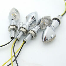 4x UNIVERSAL MOTORCYCLE CHROME Metal LED TURN SIGNAL INDICATOR LIGHT CLEAR LENS
