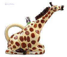 Gorgeous GIRAFFE Ceramic Teapot by Lynda Corneille * Blue Sky