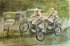 BBC TV Scramble watercolour Print by Andy Crabb BSA  Matchless  Motocross