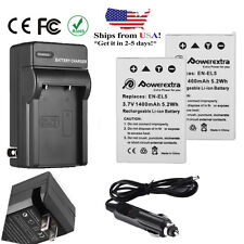 2x EN-EL5 Battery +Charger for Nikon Coolpix P6000 P90 P100 P80 S10 P500 P510 US