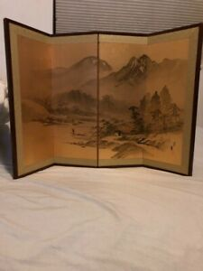 ANTIQUE JAPANESE ASIAN SIGNED 20x30 FOUR-PANEL FOLDING BYOBU SCREEN