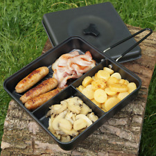Compact Camping 3 Way Multi Section Frying Pan with Lid and Folding Handle NGT