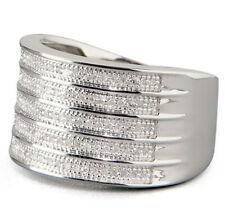 Lenox Sterling Silver Multi-Row Diamond Ring Size 8 Was $400 New