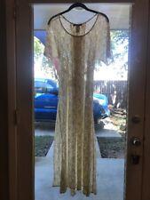 Vtg 90s White Lace Maxi Dress All That Jazz Grunge Sheer Goth Bridal Punk 5/6