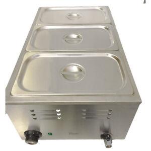 Davlex 3 Pot Baine Marie Three Deep Fill Pans Electric Sauce Food Bain Warmers