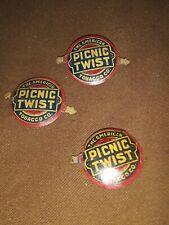 3 Vintage Picnic Twist Tobacco Tags