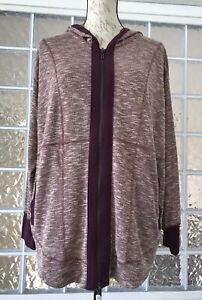 DREAMS & CO Women's Burgundy Beige Hooded Bed Jacket Dual Zipper Size 14/16 M