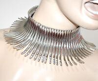 COLLANA  ARGENTO donna collarino rigido girocollo collare collier crew-neck G15