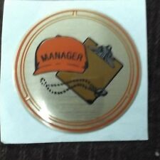 """lot of 52 MANAGER trophy parts  brown clipboard red cap mylar 2"""" diameter"""