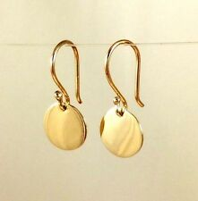 Solid 9ct 9k Yellow Gold  9.5mm Drop Disc Earrings Polished Finish