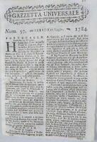 1784 GAZZETTA UNIVERSALE: SOCIETA' DEI CINCINNATI A PHILADELPHIA; PISTOIA; .....