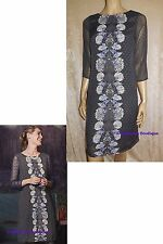 WHITE STUFF FABLE NIGHTFALL GREY/PURPLE FLORAL CHIFFON TUNIC DRESS SIZE 8 NEW