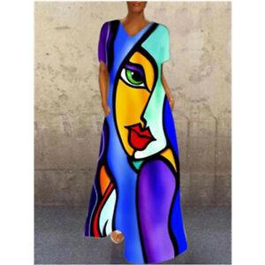 Women Retro Abstract Face V Neck Floral Print Midi Dress Ladies Shirt Dress