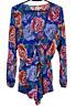 BILLABONG | LS Summer Shorts Jumpsuit Playsuit with Tie Front | Floral | Size 10