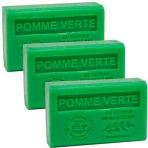 3 x 125g Bars - Green Apple Scented French Soap with Organic Shea Butter
