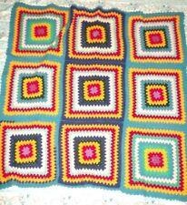Vintage Wool Nanna Rug Throw Blanket Crochet 9 Large Squares 106.cm x 101.cm