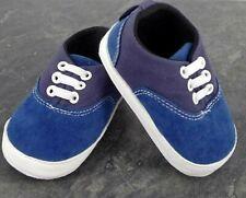 Pram Shoes , Newborn Baby Boy Infant Blue Shoes Toddler PreWalker Trainers 0-12