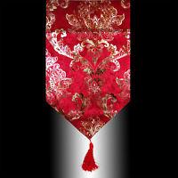LUXURY SHINY BURGUNDY VELVET  GOLD DAMASK TASSELS WEDDING BED TABLE RUNNER CLOTH