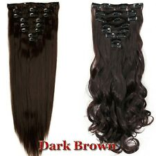 100% Real Thick Clip In Hair Extensions Long Curly Full Head Hair Extentions UK