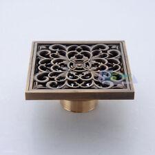 Antique Brass Bathroom Floor Drain 10cm Square Shower Waste Water Strainer Cover