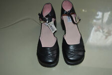 Next Girls black leather Ankle strap shoes size 1 narrow fit Brand New with Tags