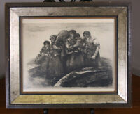 Engraving Antique Print of Family 11x13 Wood Frame