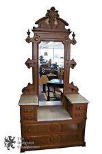 Antique Washstand 2 Tier Marble Top Eastlake Washstand W/ Mirror Dresser Walnut