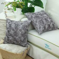 Pack of 2 Pillows Covers Cases for Couch Sofa Home Roses Floral 20X20 Grey
