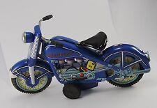 Vintage Tin-Toy Harley-Davidson Motorrad / Blau