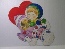 Vintage Die Cut Cardboard Boy & Dog In Spaceship Valentine Decoration val182