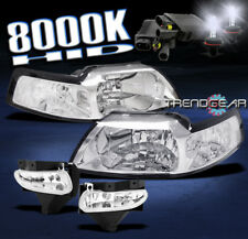 1999-2004 FORD MUSTANG CHROME CRYSTAL HEAD LIGHTS W/BUMPER FOG LAMP+8K XENON HID