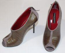 Charles Jourdan 7.5 M Taupe Patent Leather Shooties Gray Suede Peep Toe Zip $189