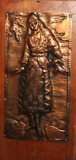 1991 Hand made copper/wood wall hanging plaque woman with folk costume signed