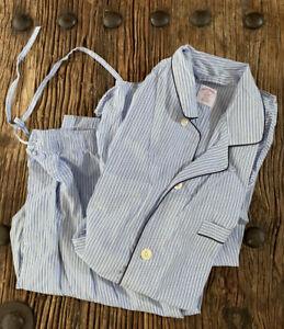 Brooks Brothers Men's Sz XL All Cotton Button Shirt Elastic Pants Pajama Set EUC