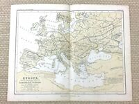 1853 Antique Map of Europe Fall of the Roman Empire Barbarian Routes Roads