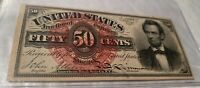 "50 FIFTY CENTS FOURTH ISSUE FRACTIONAL CURRENCY ""LINCOLN"" BEAUTIFUL NOTE"