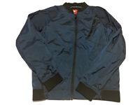 Nike Full Zip Running Windbreaker Nylon Jacket Size S Blue Multi Pocket Lined